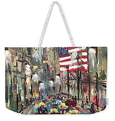 Weekender Tote Bag featuring the painting wall street NY by Miroslaw  Chelchowski