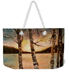 Weekender Tote Bag featuring the painting Warm Fall Day by Sher Nasser
