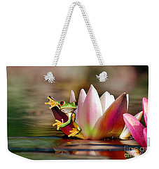 Water Lily And Frog Weekender Tote Bag