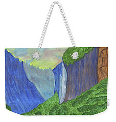 Weekender Tote Bag featuring the painting Waterfall In The Mountains by Dobrotsvet Art