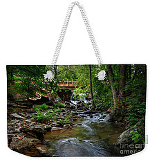 Waterfall With Wooden Bridge Weekender Tote Bag