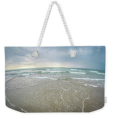 Weekender Tote Bag featuring the photograph Waves Crashing On Wrightsville Beach Before The Storm by Alex Grichenko