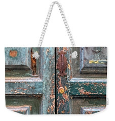 Weathered Rustic Green Door Of Cortona Weekender Tote Bag