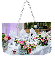 Weekender Tote Bag featuring the photograph Wedding Table by Top Wallpapers