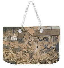 Weekender Tote Bag featuring the drawing When The Beast Is Loose by Ivar Arosenius