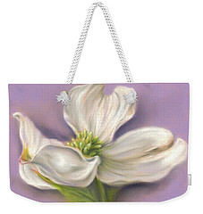 Weekender Tote Bag featuring the pastel White Dogwood On Purple by MM Anderson