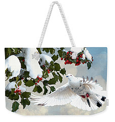 White Dove And Holly Weekender Tote Bag