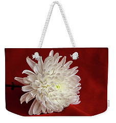 White Flower On Red-1 Weekender Tote Bag