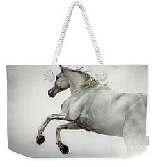 Weekender Tote Bag featuring the photograph White Horse Rearing Up by Dimitar Hristov