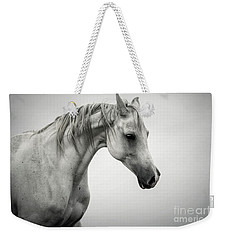 Weekender Tote Bag featuring the photograph White Horse Winter Mist Portrait by Dimitar Hristov