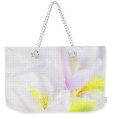 Weekender Tote Bag featuring the photograph White Iris by Leland D Howard