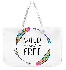 Wild And Free Colorful Feathers - Boho Chic Ethnic Nursery Art Poster Print Weekender Tote Bag