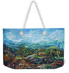Weekender Tote Bag featuring the painting Windy Day In The Grassland. Original Oil Painting Impressionist Landscape. by OLena Art Brand