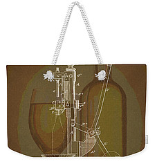 Weekender Tote Bag featuring the drawing Wine Bottle Corking Patent by Dan Sproul