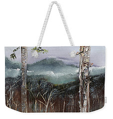Weekender Tote Bag featuring the painting Winter At Pink Knob In Ellijay by Jan Dappen