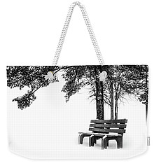 Weekender Tote Bag featuring the photograph Winter Bench  by Michael Arend