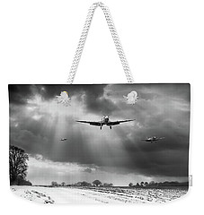 Weekender Tote Bag featuring the photograph Winter Homecoming Bw Version by Gary Eason