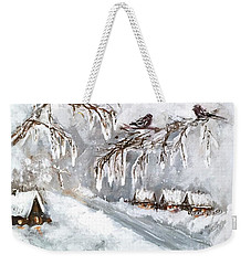 Weekender Tote Bag featuring the painting Winter by Miroslaw  Chelchowski