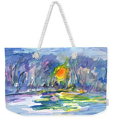 Weekender Tote Bag featuring the painting Winter Morning Landscape by Dobrotsvet Art