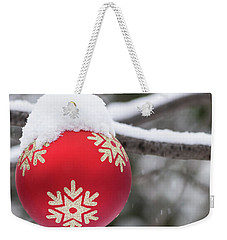 Weekender Tote Bag featuring the photograph Winter Scene - Red Christmas Ball Outside, With Snow On It by Cristina Stefan