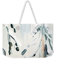 Weekender Tote Bag featuring the painting Winter Trees #3 by Maria Langgle