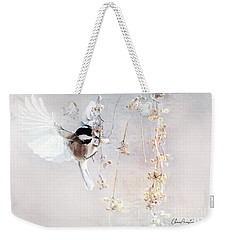 Weekender Tote Bag featuring the mixed media Winter Visitor by Chris Armytage