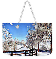 Wintry Lane Weekender Tote Bag