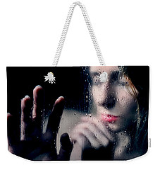 Woman Portrait Behind Glass With Rain Drops Weekender Tote Bag