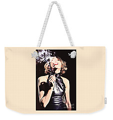 Woman Smoking A Cigarette Weekender Tote Bag