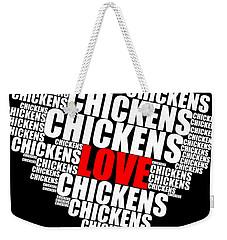 Word Cloud White Love Chickens Weekender Tote Bag