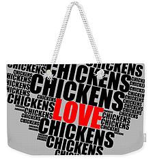Wordcloud Love Chickens Black Weekender Tote Bag