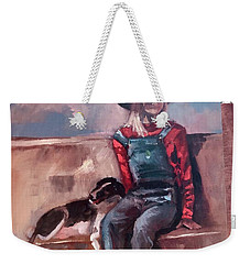Weekender Tote Bag featuring the painting Work  In Progress by Jan Dappen