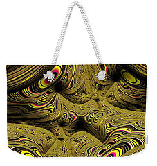 Weekender Tote Bag featuring the digital art Wrinkles And Eyes Yellow Fractal Abstract by Shelli Fitzpatrick
