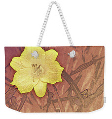 Yellow Day Lily Stencil On Sandstone Weekender Tote Bag