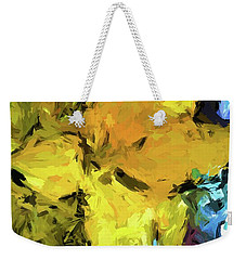 Yellow Flower And The Eggplant Floor Weekender Tote Bag