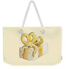 Weekender Tote Bag featuring the painting Yellow Present by Maria Langgle