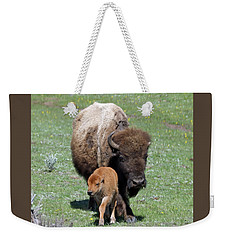 Yellowstone Bison And Calf Weekender Tote Bag