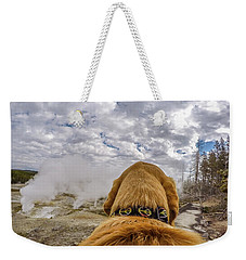 Weekender Tote Bag featuring the photograph Yellowstone By Photo Dog Jackson by Matthew Irvin