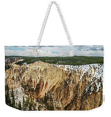 Weekender Tote Bag featuring the photograph Yellowstone Canyon With Frosting by Matthew Irvin
