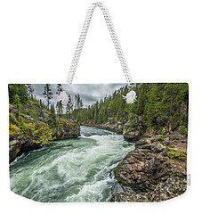 Weekender Tote Bag featuring the photograph Yellowstone River Falling by Matthew Irvin