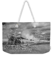 Weekender Tote Bag featuring the photograph Yellowstone Steam by Matthew Irvin