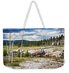 Weekender Tote Bag featuring the photograph Yellowstone Trails In The Geyeser Basin by Tatiana Travelways