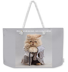 Weekender Tote Bag featuring the photograph Yoda Cat by Warren Photographic