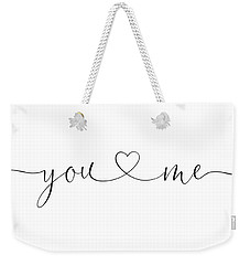 You And Me Black And White Weekender Tote Bag