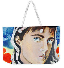 Weekender Tote Bag featuring the painting Youth And Zebra Stripes by Rene Capone