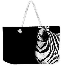 Weekender Tote Bag featuring the photograph Zebra Drama by Kay Brewer