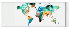 Map Of The World Yoga Mats