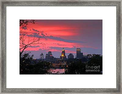 4th Of July Sunset Providence Ri Framed Print by Butch Lombardi