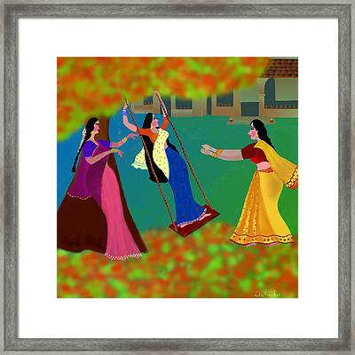 The Swing Under The Gulmohur Tree                                             Framed Print by Latha Gokuldas Panicker