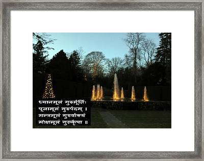 In Praise Of Guru The Teacher In Sanskrit Language From The Veda Scripture On Background Bea Framed Print by Navin Joshi